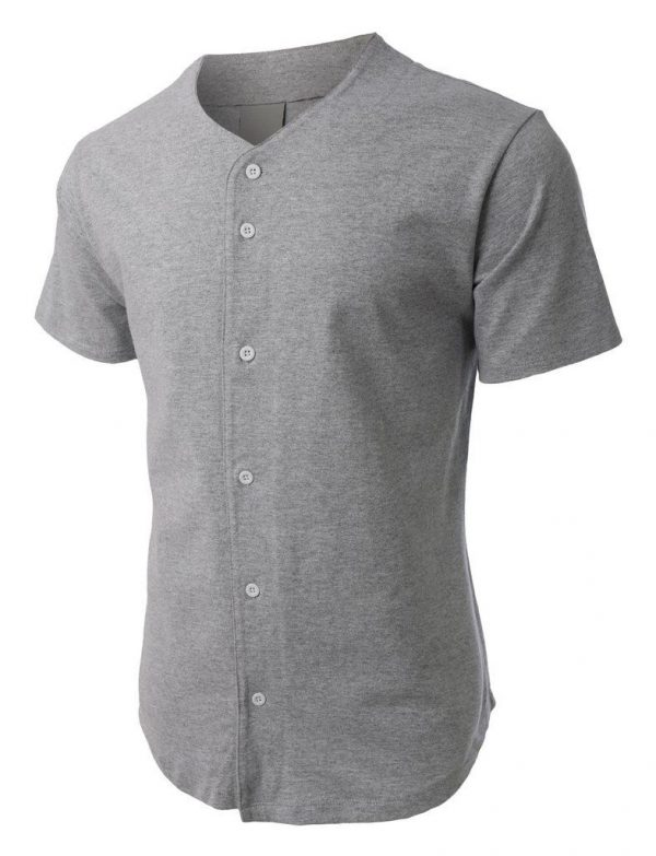 low priced c46d4 28703 Men's Baseball Jersey Grey Plain T-Shirt